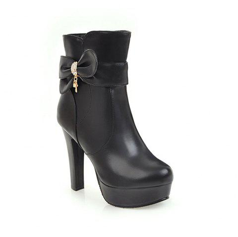 New High Heel Sweet Bow Fashionable Female Ankle Boots - BLACK 38