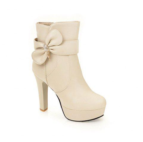 New High Heel Sweet Bow Fashionable Female Ankle Boots - BEIGE 37