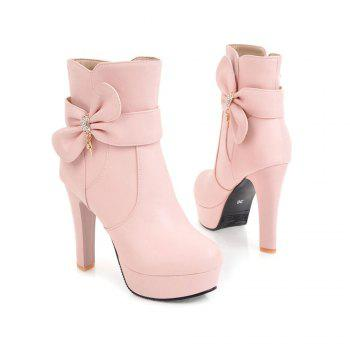 New High Heel Sweet Bow Fashionable Female Ankle Boots - PINK 38