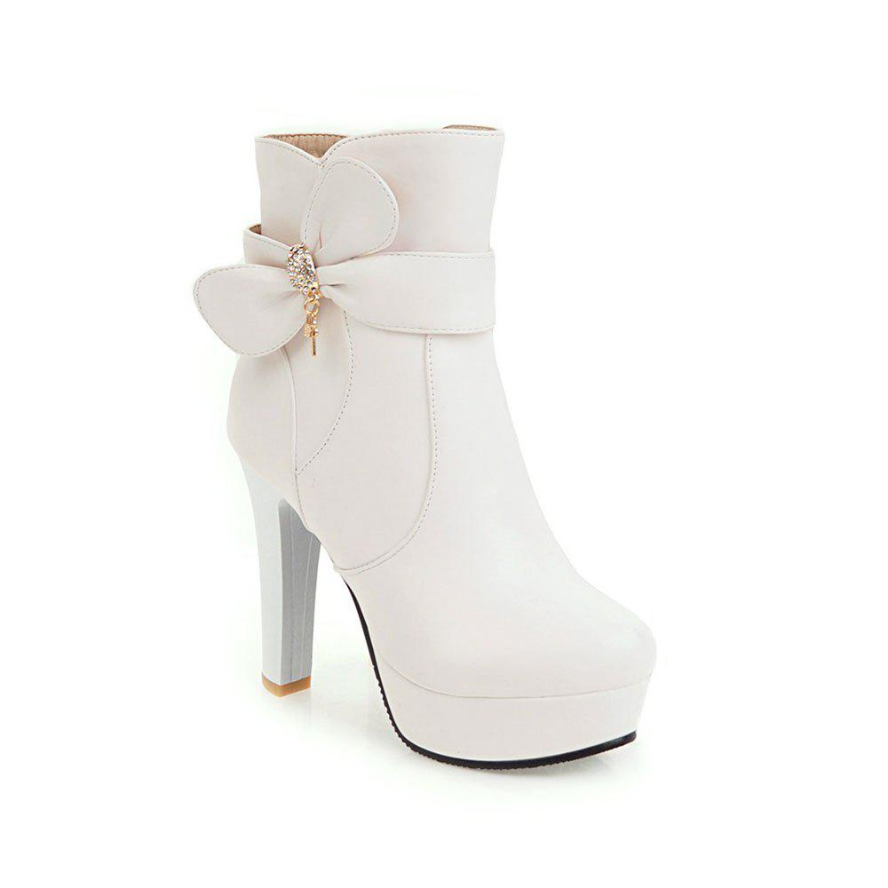 New High Heel Sweet Bow Fashionable Female Ankle Boots - WHITE 34