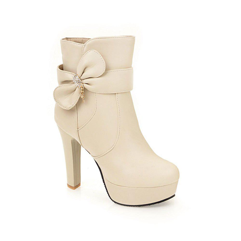 New High Heel Sweet Bow Fashionable Female Ankle Boots - BEIGE 39