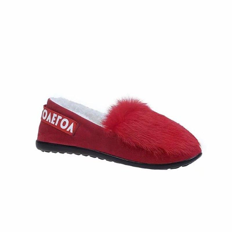 Round Bottomed Shallow Mouth Set Foot Shoes - RED 40