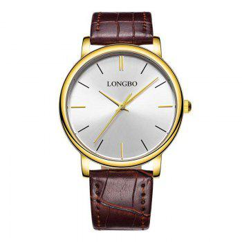 LONGBO 80321 Leisure Steel Band Couple Watch - GOLD AND WHITE GOLD/WHITE