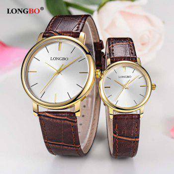 LONGBO 80321 Leisure Steel Band Couple Watch - GOLD/WHITE GOLD/WHITE