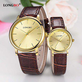 LONGBO 80321 Leisure Steel Band Couple Watch - GOLDEN GOLDEN