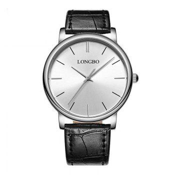 LONGBO 80321 Leisure Steel Band Couple Watch - SILVER AND WHITE SILVER/WHITE