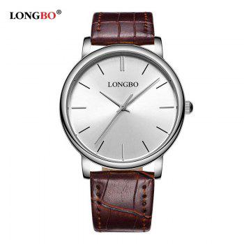 LONGBO 80321 Leisure Steel Band Couple Watch - SILVER/BROWN SILVER/BROWN
