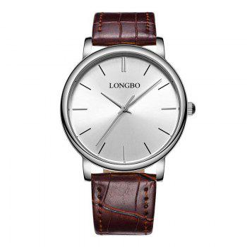 LONGBO 80321 Leisure Steel Band Couple Watch - SILVER AND BROWN SILVER/BROWN
