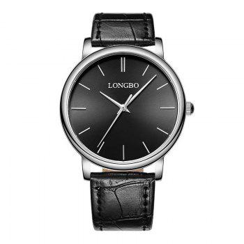 LONGBO 80321 Leisure Steel Band Couple Watch - SILVER AND BLACK SILVER/BLACK