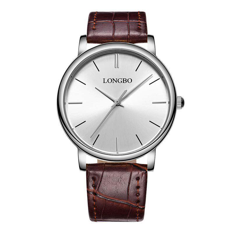 LONGBO 80321 Leisure Steel Band Couple Watch - SILVER/BROWN FEMALE
