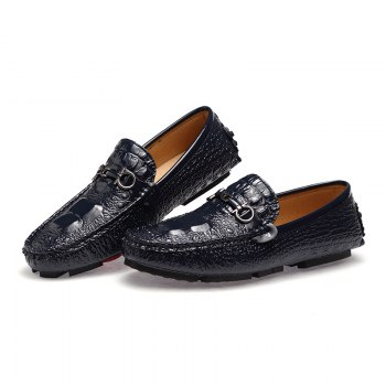 Men New Casual Fashion Loafers Outdoor Travel Leather Shoes Size 38-44 - BLUEBELL 42