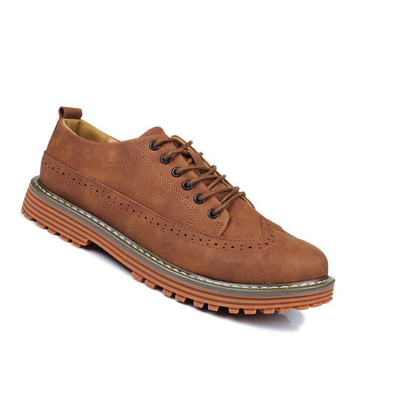 Men Outdoor Jogging Business Walking British Shoes - BROWN 40