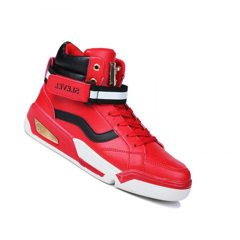 Men Fashion Running Lace Up Sport Outdoor Hip Hop Walking Athletic Shoes 39-44 - RED 43