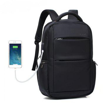AUGUR Brand Backpacks USB Charging Laptop  Men Teenagers Travel Large Capacity Casual Fashion Style Back Bag - BLACK BLACK