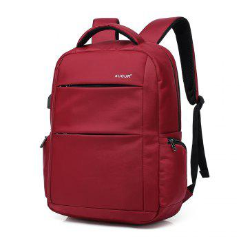 AUGUR Brand Backpacks USB Charging Laptop  Men Teenagers Travel Large Capacity Casual Fashion Style Back Bag - RED RED