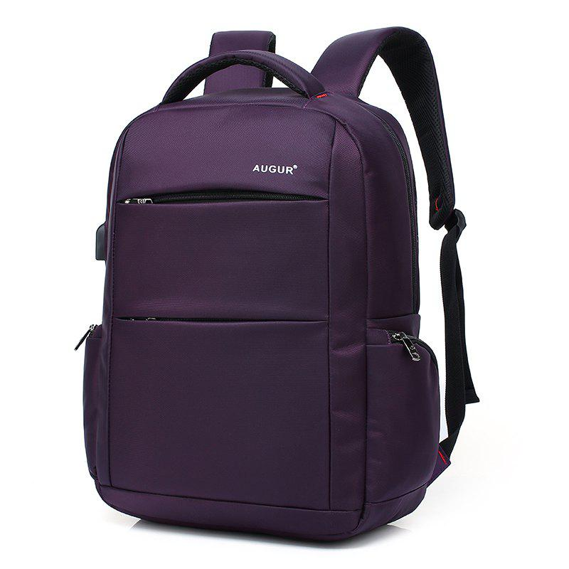 AUGUR Brand Backpacks USB Charging Laptop  Men Teenagers Travel Large Capacity Casual Fashion Style Back Bag - PURPLE