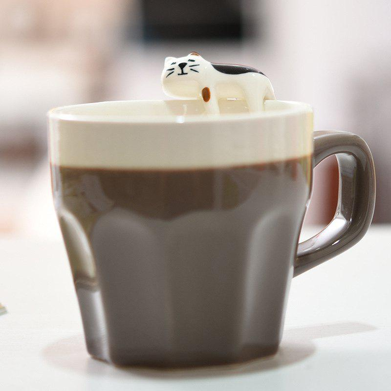 300ML Cat Ceramic Mug - CHOCOLATE