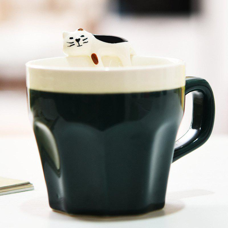 300ML Cat Ceramic Mug - DEEP GREEN
