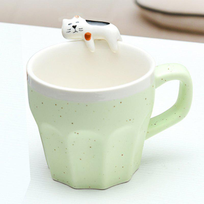 300ML Cat Ceramic Mug - GREEN