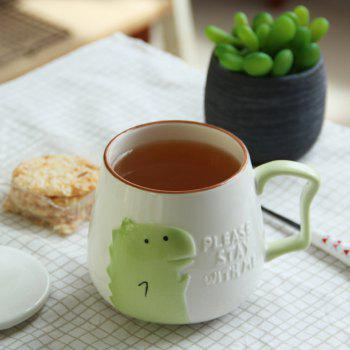 400ML Cartoon Embossed Ceramic Mug - GREEN