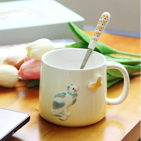 375ML Cartonn Naughty Cat Ceramic Cup - YELLOW