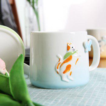 375ML Cartonn Naughty Cat Ceramic Cup - BLUE BLUE