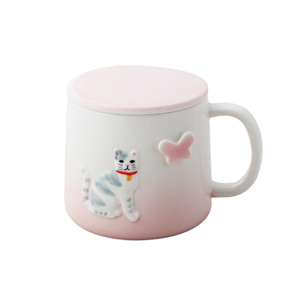 375ML Cartonn Naughty Cat Ceramic Cup - PINK