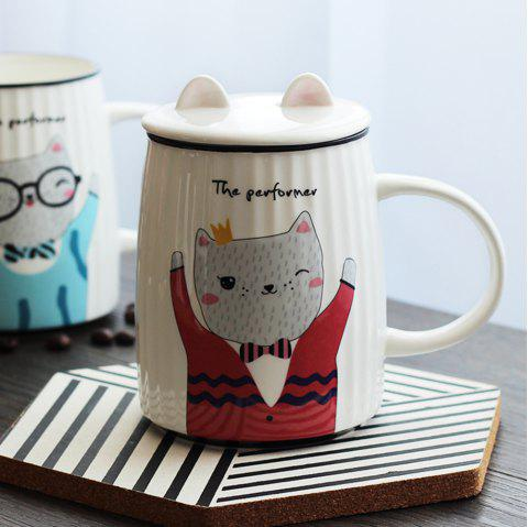500ML Cartoon Cat Striped Ceramic Cup - RED
