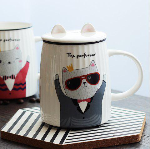 500ML Cartoon Cat Striped Ceramic Cup - GRAY