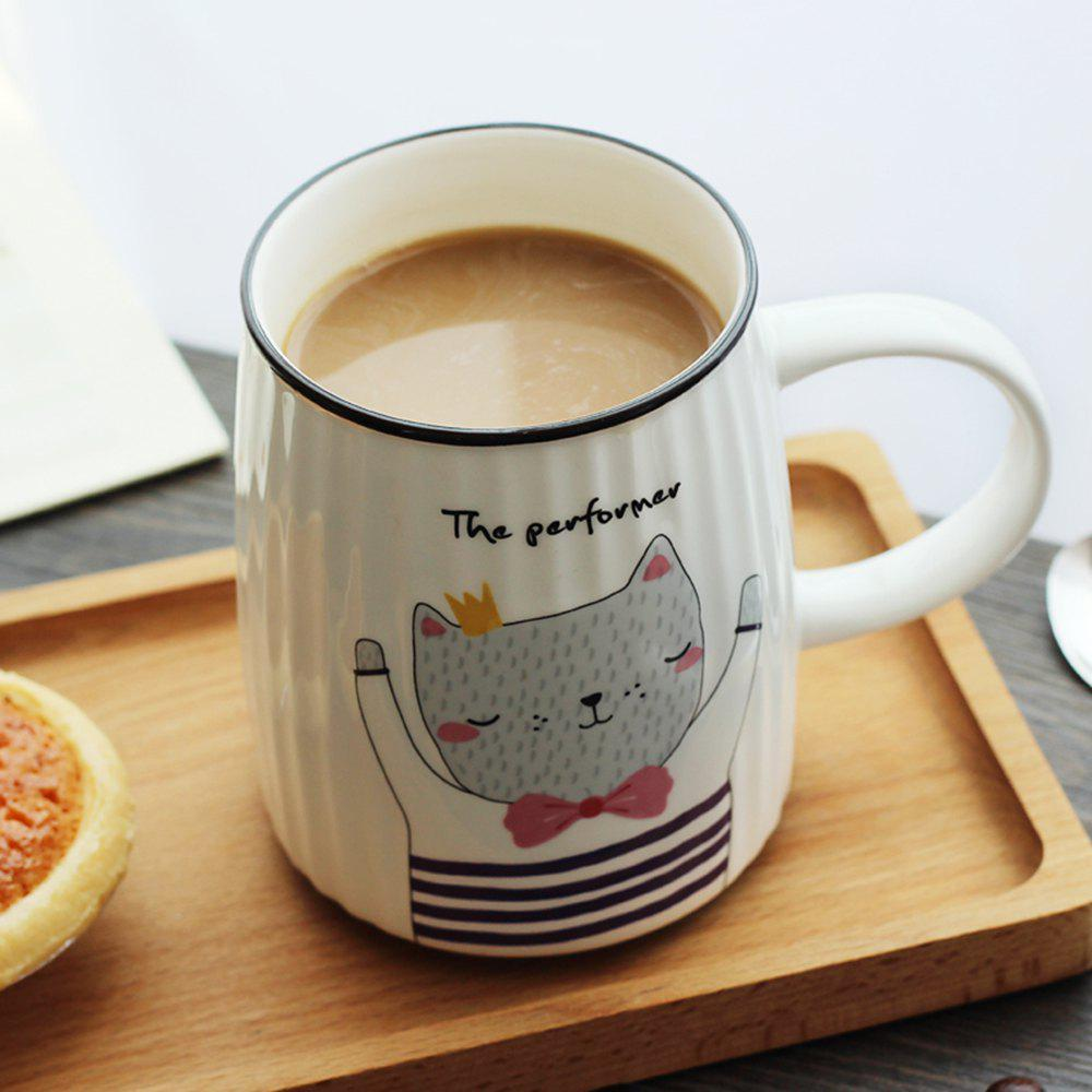 500ML Cartoon Cat Striped Ceramic Cup - PURPLE