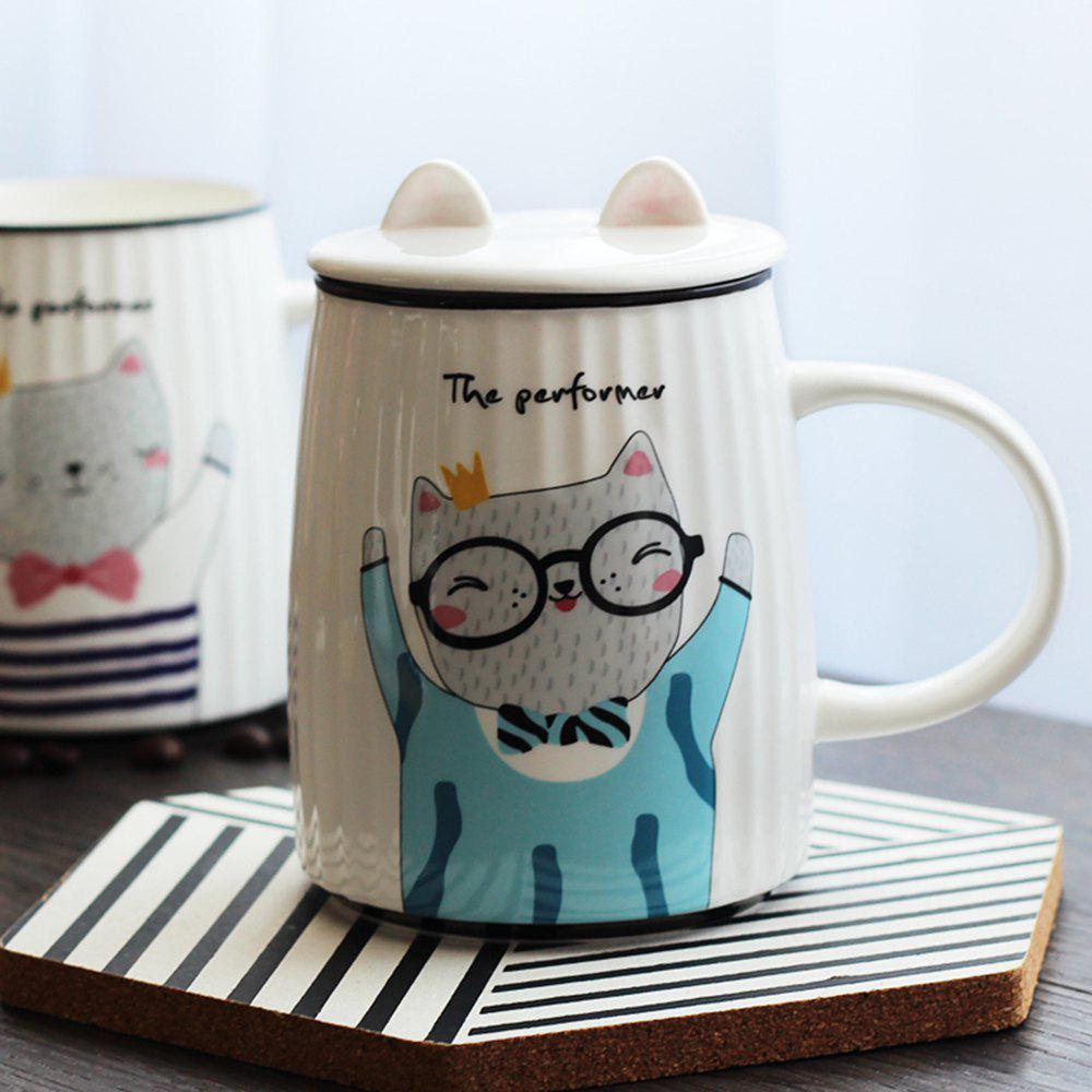500ML Cartoon Cat Striped Ceramic Cup - BLUE
