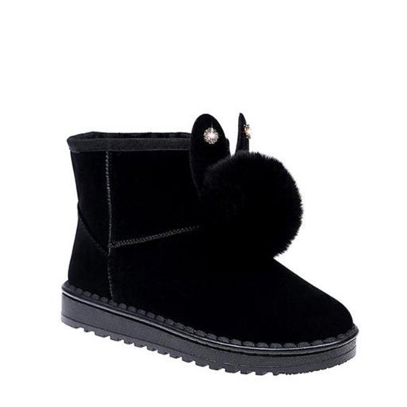 Winter Solid Color Wild Feather Warm Snow Boots - BLACK 40