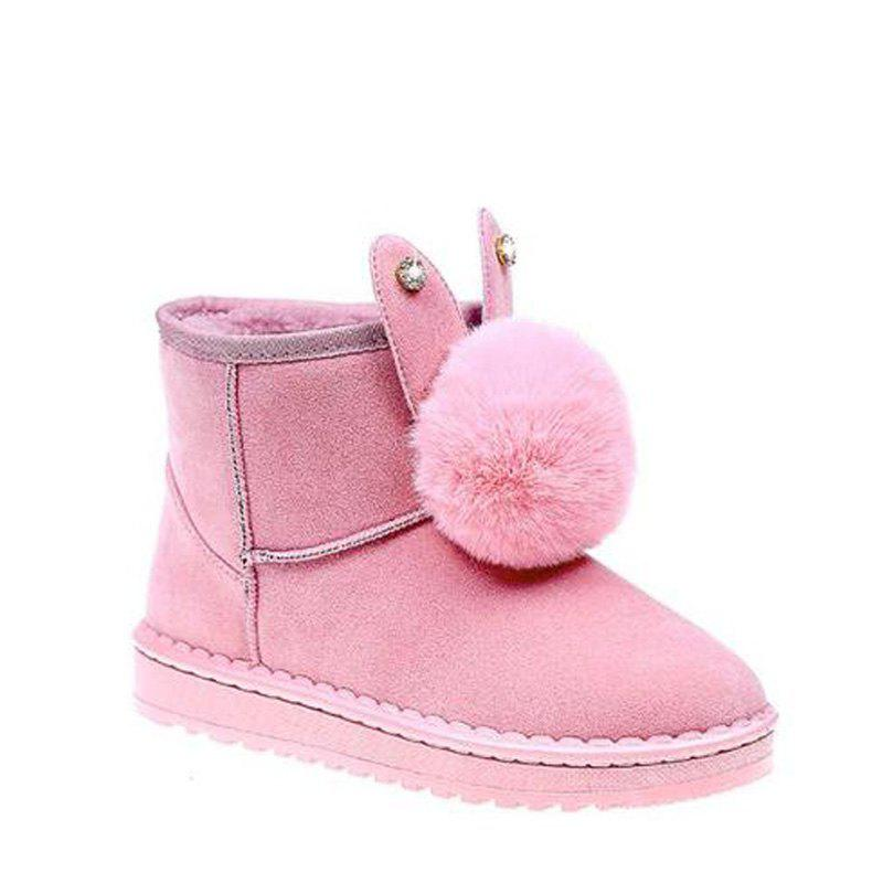 Winter Solid Color Wild Feather Warm Snow Boots - PINK 39
