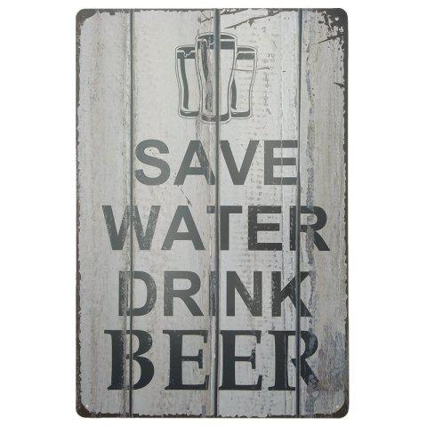 Vintage Style Beer Pattern Metal Painting for Cafe Bar Restaurant Wall Decor - GRAY
