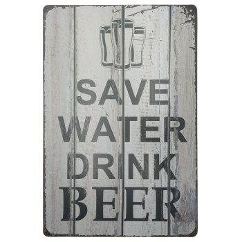 Vintage Style Beer Pattern Metal Painting for Cafe Bar Restaurant Wall Decor - GRAY GRAY