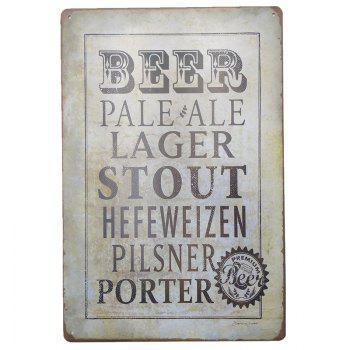 Vintage Style Beer Metal Painting for Cafe Bar Restaurant Wall Decor - GRAY GRAY