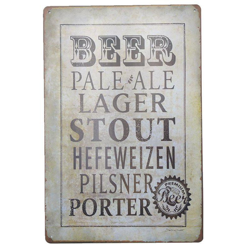 Vintage Style Beer Metal Painting for Cafe Bar Restaurant Wall Decor - GRAY