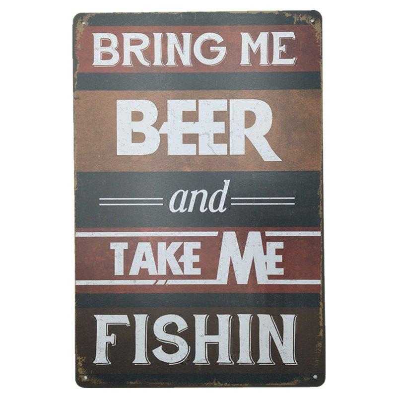 Vintage Style Bring Me Beer  Metal Painting for Cafe Bar Restaurant Wall Decor