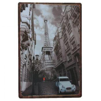 Retro Architecture Metal Painting for Cafe Bar Restaurant Wall Decor - COLORMIX COLORMIX