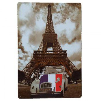 Eiffel Tower Car Retro Style Metal Painting for Cafe Bar Restaurant Wall Decor - COLORMIX COLORMIX