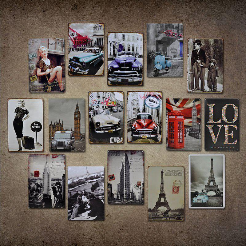 Eiffel Tower Car Retro Style Metal Painting for Cafe Bar Restaurant Wall Decor - COLORMIX