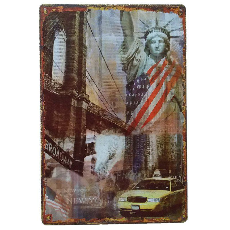 Statue of Liberty Vintage Style Metal Painting for Wall Decor - COLORMIX