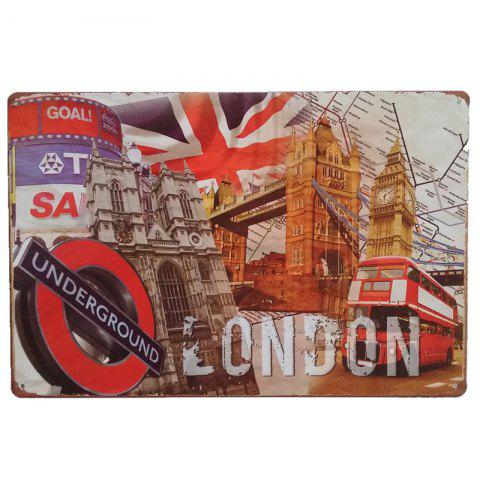 London Architecture Vintage Style Metal Painting for Cafe Bar Restaurant Wall Decor - COLORMIX