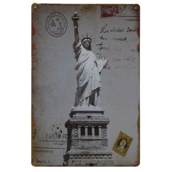Statue of Liberty Vintage Style Metal Painting for Cafe Bar Restaurant Wall Decor - GRAY GRAY