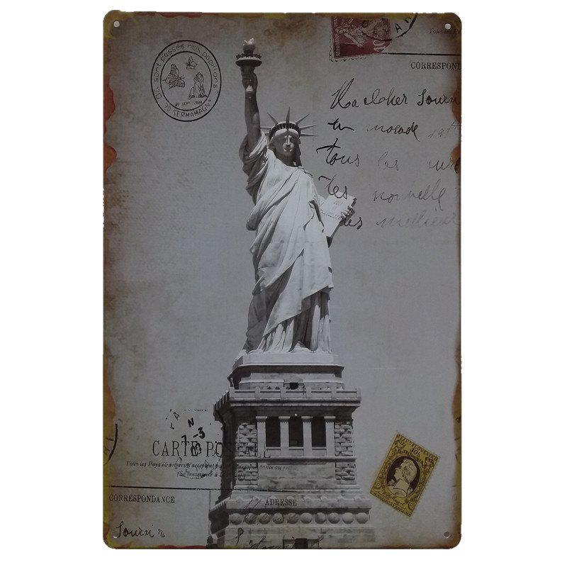 Statue of Liberty Vintage Style Metal Painting for Cafe Bar Restaurant Wall Decor - GRAY