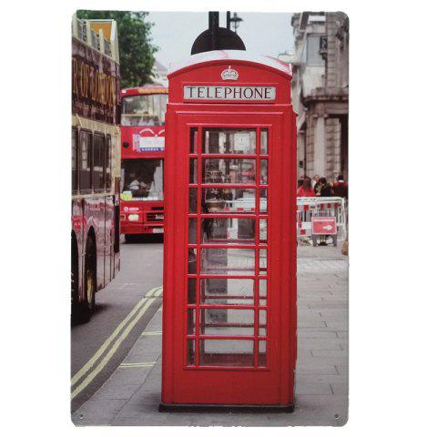 Telephone Booth Vintage Style Metal Painting for Cafe Bar Restaurant Wall Decor - COLORMIX