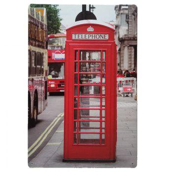 Telephone Booth Vintage Style Metal Painting for Cafe Bar Restaurant Wall Decor - COLORMIX COLORMIX