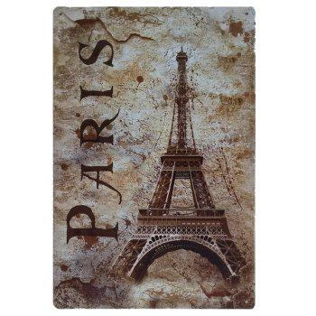 Eiffel Tower Vintage Style Metal Painting for Cafe Bar Restaurant Wall Decor - COLORMIX COLORMIX