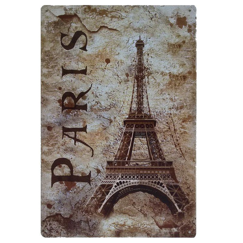 Eiffel Tower Vintage Style Metal Painting for Cafe Bar Restaurant Wall Decor - COLORMIX