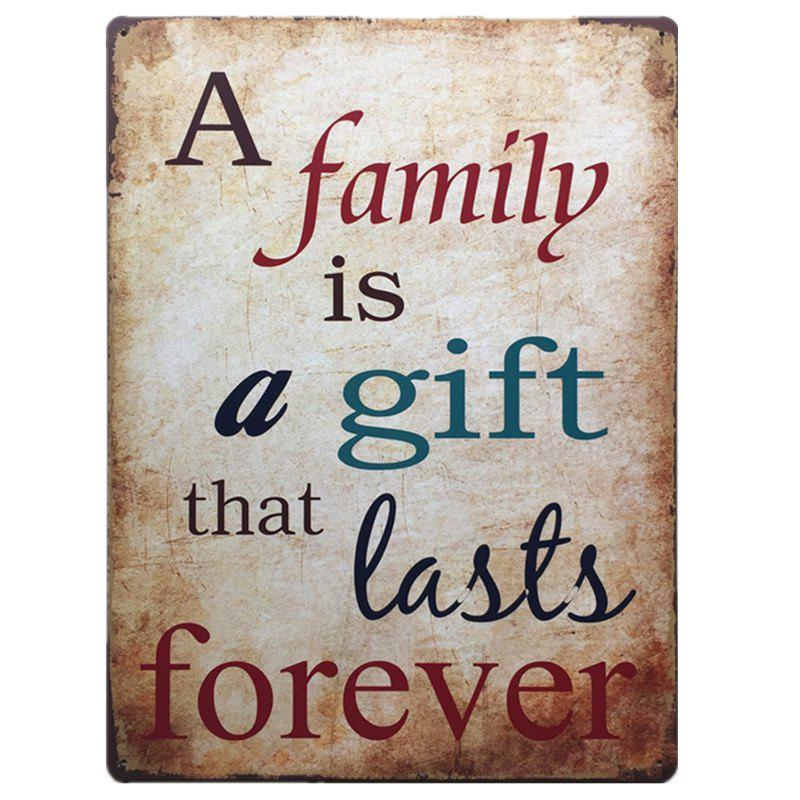 Family English Proverbs Retro Style Metal Painting for  Wall Decor - COLORMIX